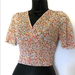 UO Caution to the Wind Floral Wrap Cropped Top